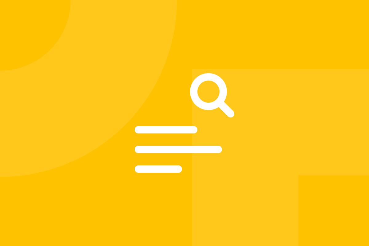 Ícone em tons de amarelo alusivo ao termo Content audit