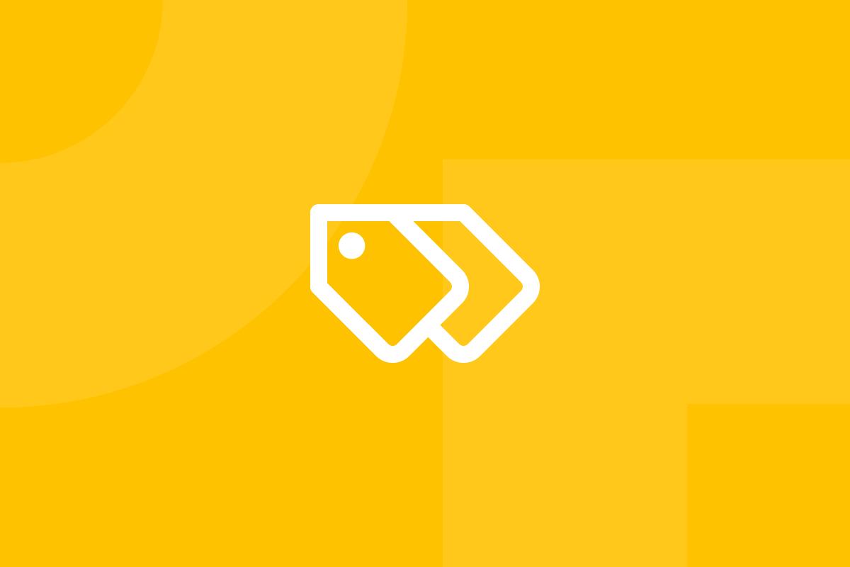 Ícone em tons de amarelo alusivo ao termo Tagging