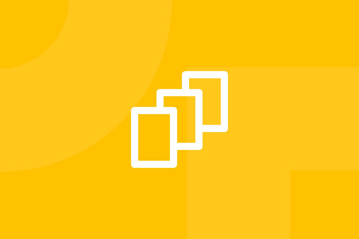 Ícone em tons de amarelo alusivo ao termo UX cards