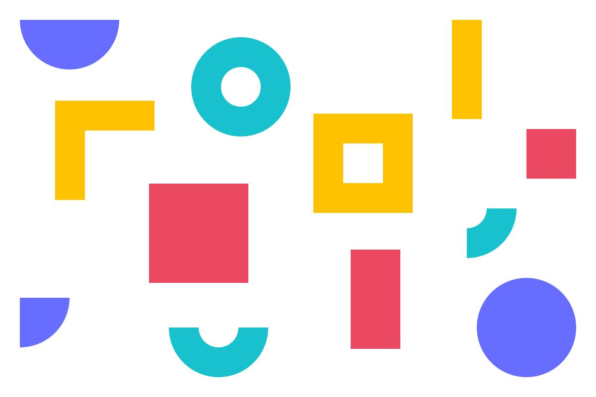 Ilustração de formas geométricas em tons de roxo, magenta, verde e amarelo alusiva aos conceitos de termos e condições e propriedade