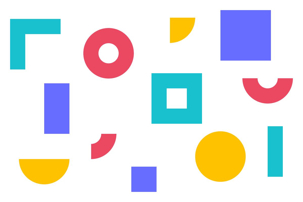 Ilustração de formas geométricas em tons de roxo, magenta, verde e amarelo alusiva aos conceitos de política de privacidade e segurança