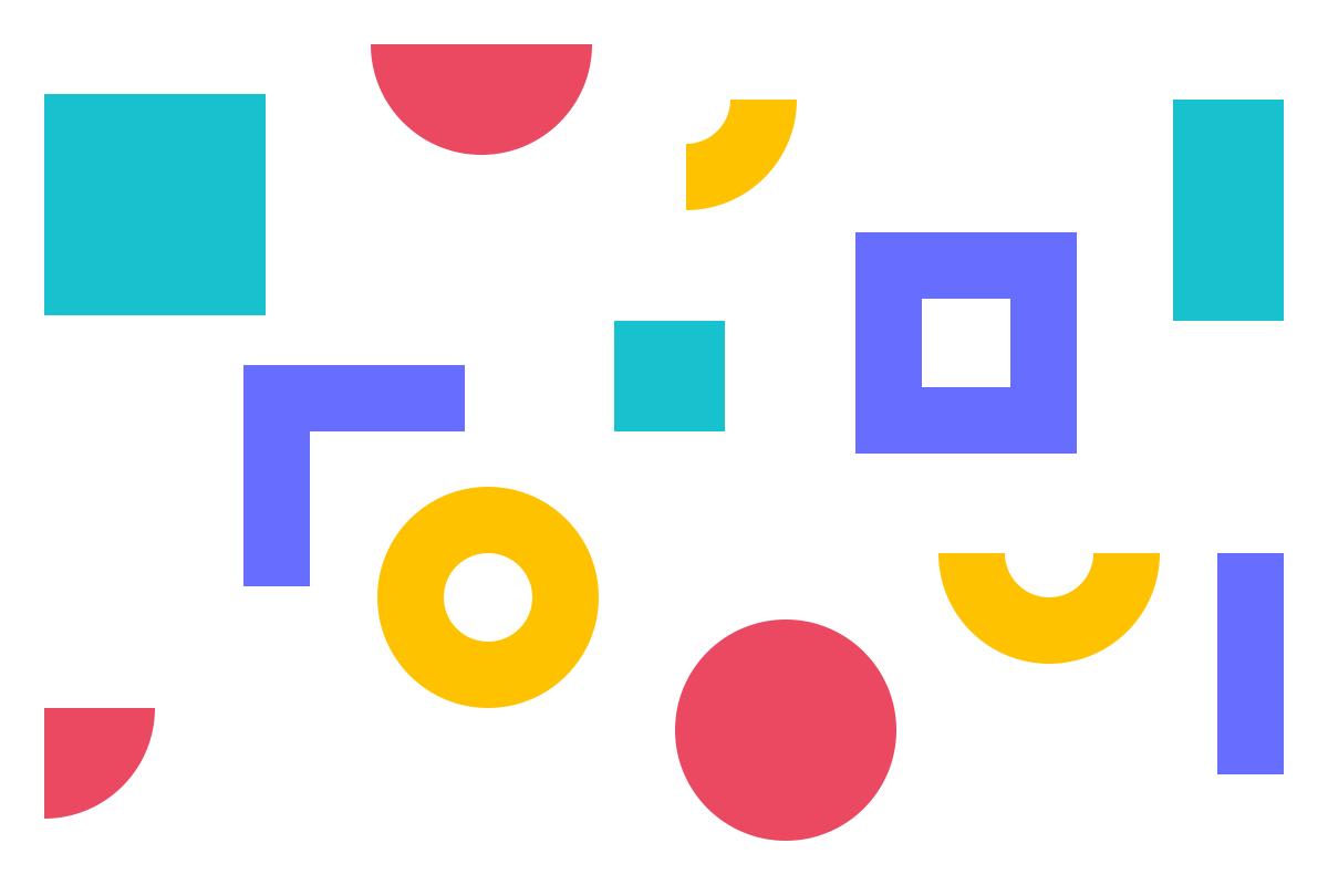 Ilustração de formas geométricas em tons de roxo, magenta, verde e amarelo alusiva ao DXD