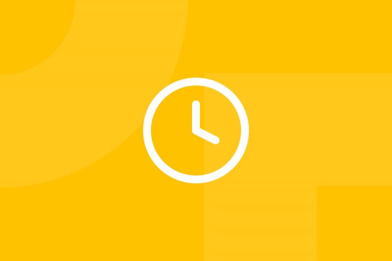 Ícone em tons de amarelo alusivo ao termo Bowman strategy clock