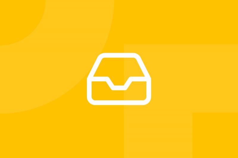Ícone em tons de amarelo alusivo ao termo Design the box