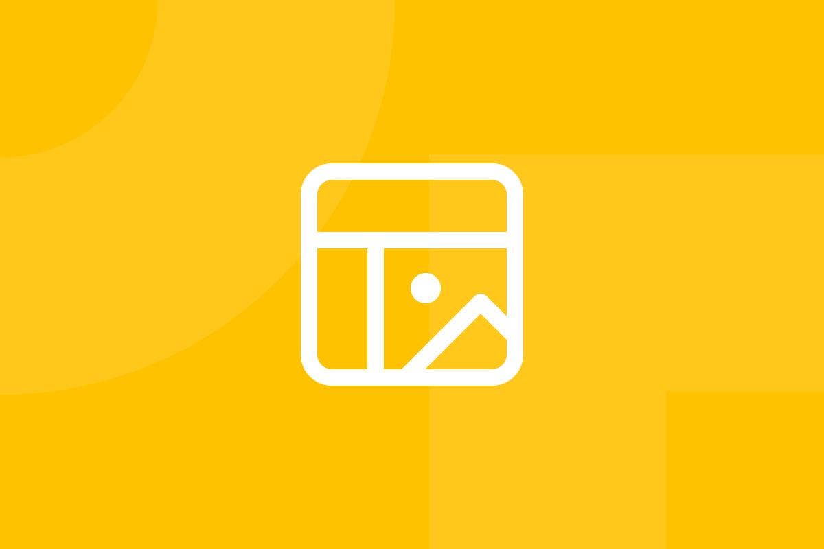 Ícone em tons de amarelo alusivo ao termo High-fidelity prototype