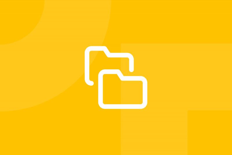 Ícone em tons de amarelo alusivo ao termo Interface inventory