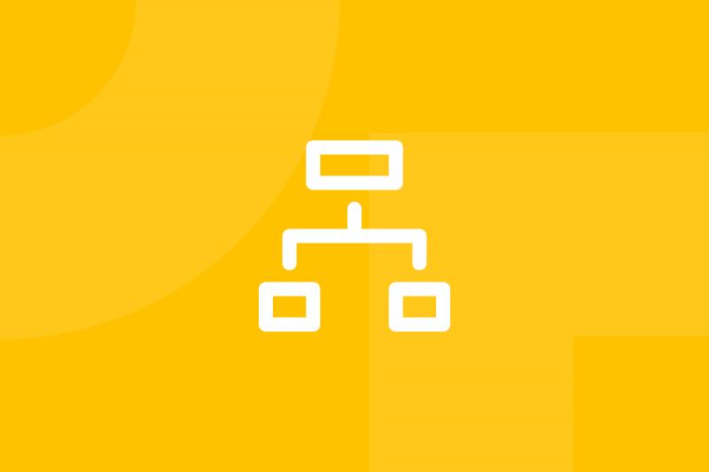 Ícone em tons de amarelo alusivo ao termo Site map