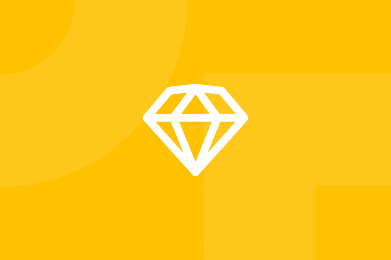 Ícone em tons de amarelo alusivo ao termo Sketch app