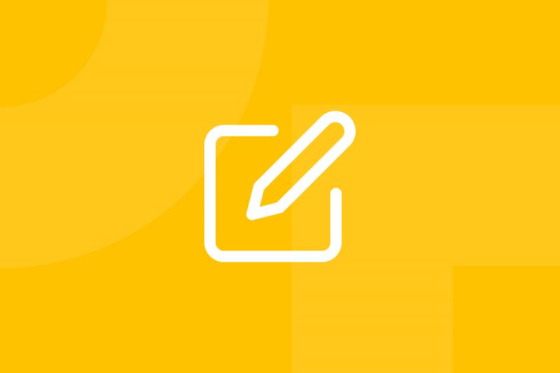 Ícone em tons de amarelo alusivo ao termo Storyboard