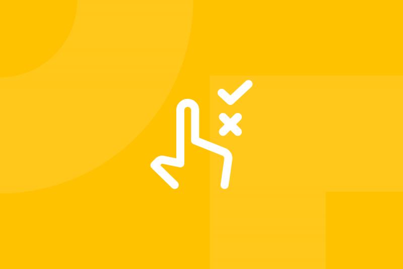 Ícone em tons de amarelo alusivo ao termo Usability tests
