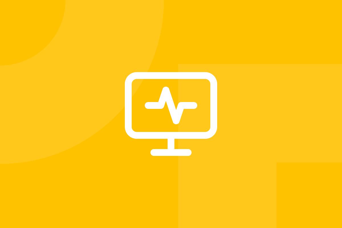 Ícone em tons de amarelo alusivo ao termo Website analytics