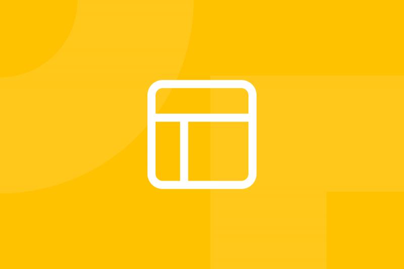 Ícone em tons de amarelo alusivo ao termo Wireframes