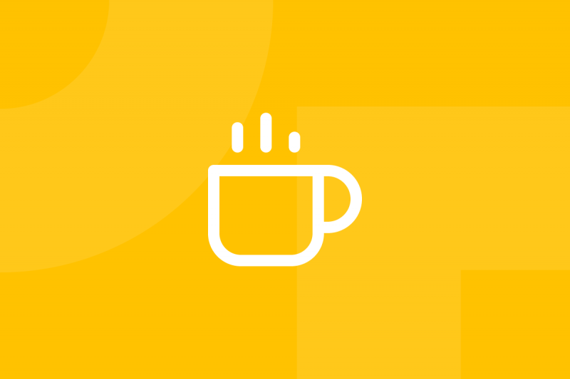 Ícone em tons de amarelo alusivo ao termo World cafe