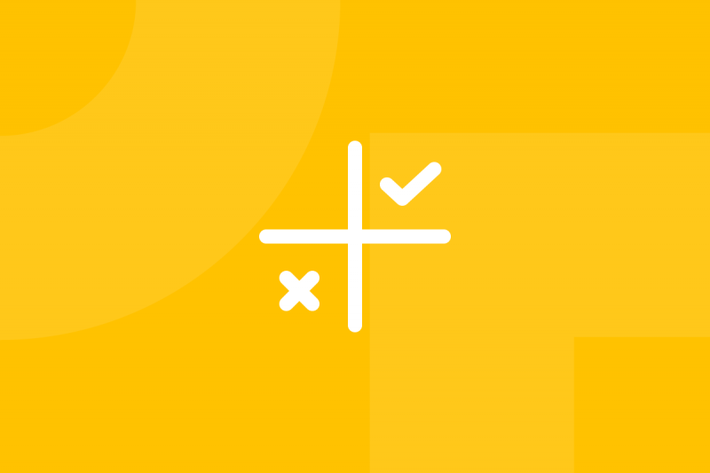 Ícone em tons de amarelo alusivo ao termo Feedback matrix