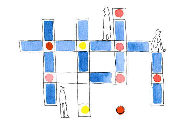 Ilustração de personagens a brincar com peças de lego