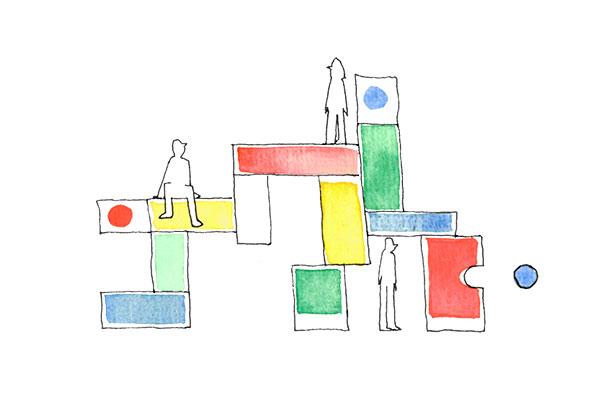 Ilustração de personagens a brincar com peças de lego alusivas às vantagens dos design systems no desenho do user interface