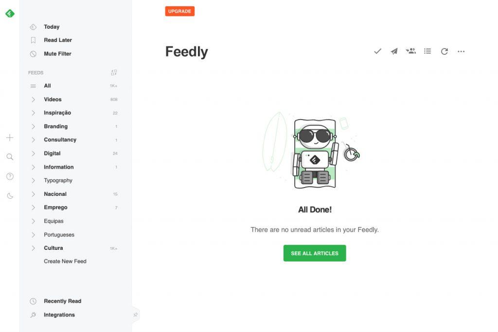 Imagem exemplo do interface do Feedly