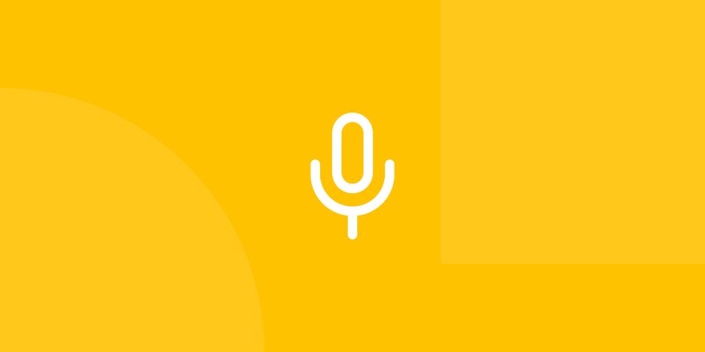 Ícone em tons de amarelo ilustrativo de podcasts