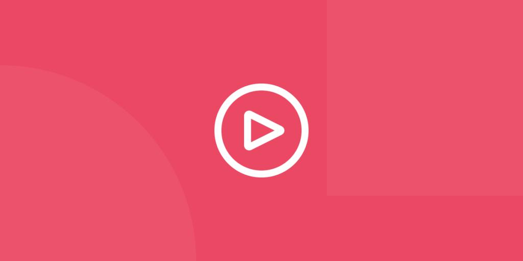 Ícone em tons de vermelho ilustrativo de vídeos