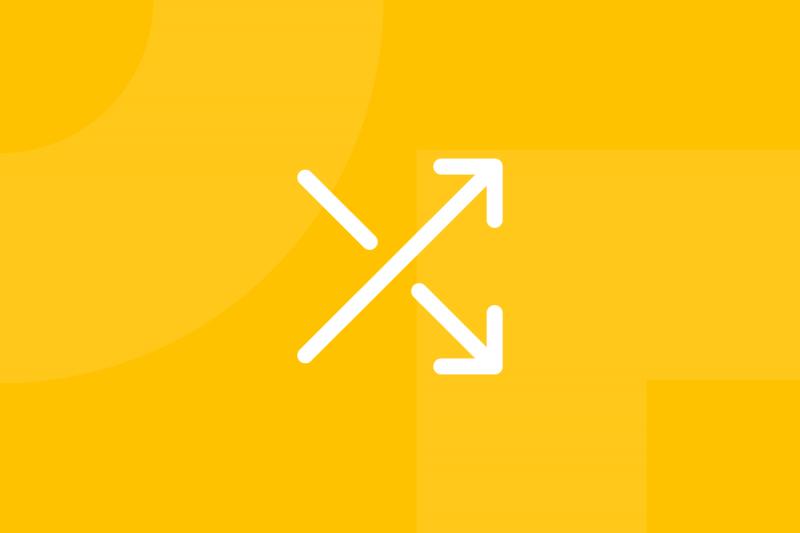 Ícone em tons de amarelo alusivo ao termo Mash-up ideas