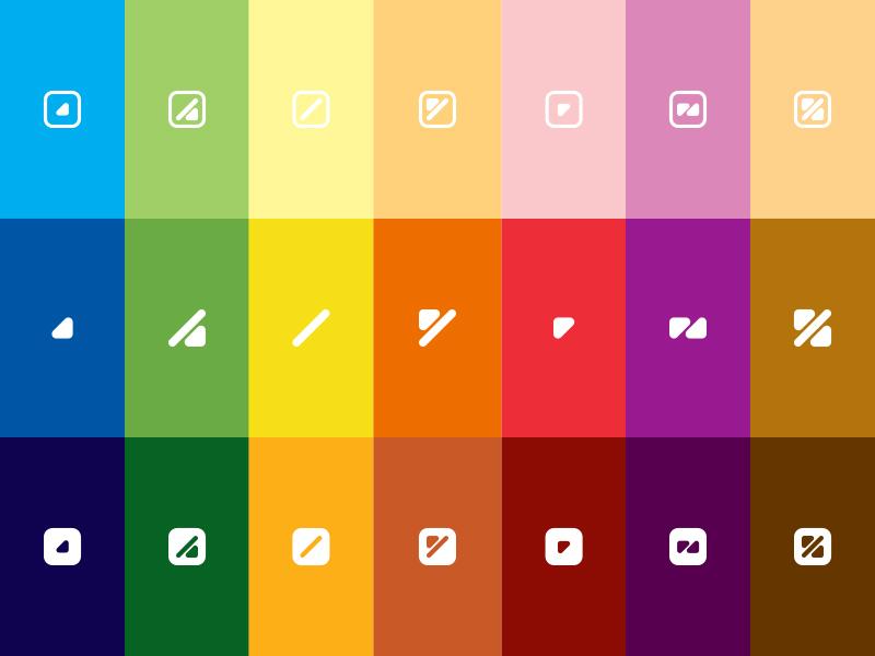 Ilustração da paleta cromática de 21 cores do ColorADD