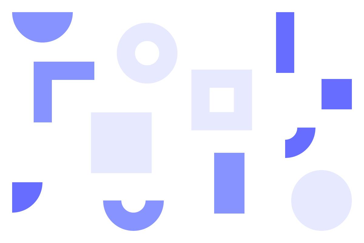Ilustração de formas geométricas em tons de roxo alusiva ao DXD