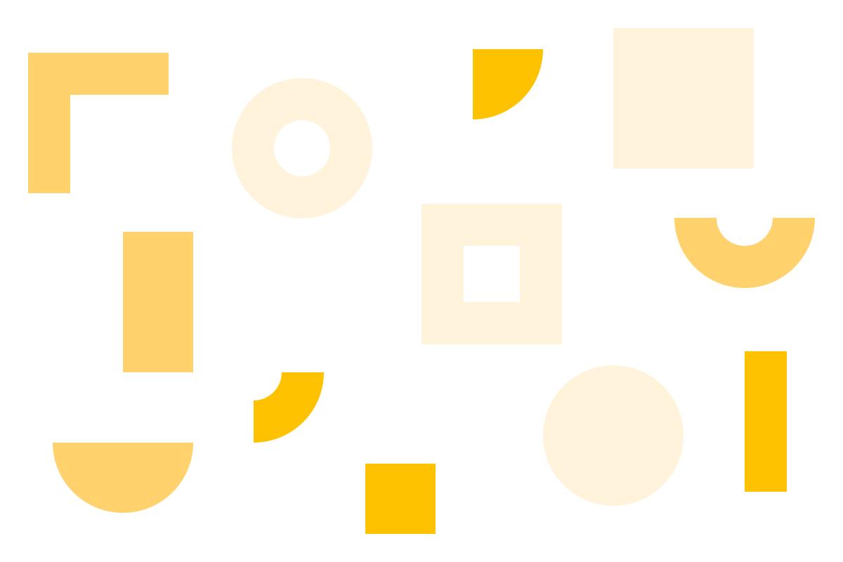 Ilustração de formas geométricas em tons de amarelo alusiva ao DXD