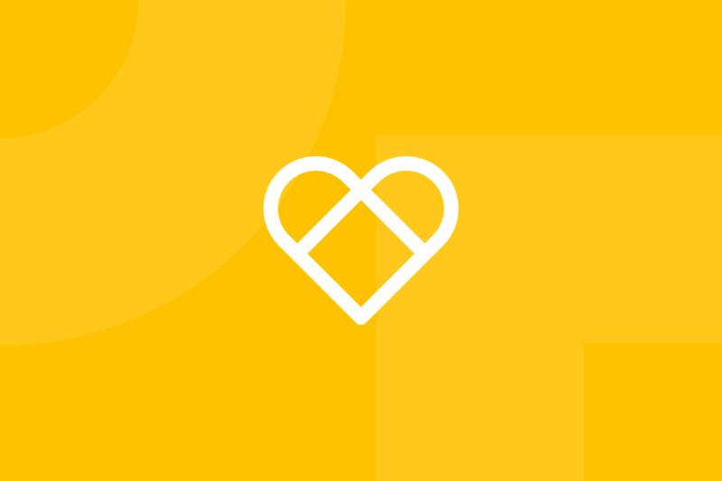Ícone em tons de amarelo alusivo ao termo Google heart happiness framework