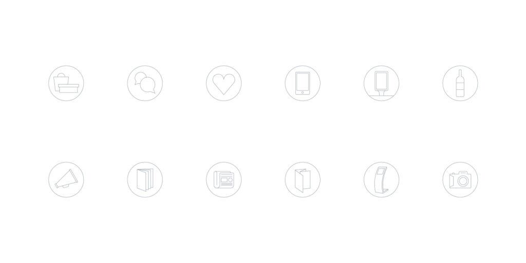 Ilustração de família iconográfica desenhada com recurso a uma espessura de linha