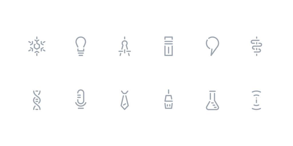 Ilustração de família iconográfica desenhada com recurso a sequências de linhas quebradas
