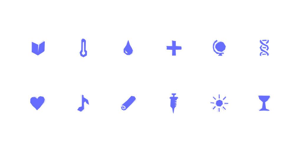 Ilustração de família iconográfica desenhada com recurso a silhuetas de formas em duas cores diferentes