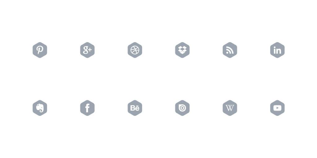 Ilustração de família iconográfica desenhada com recurso a uma forma que circunscrever cada um dos ícones