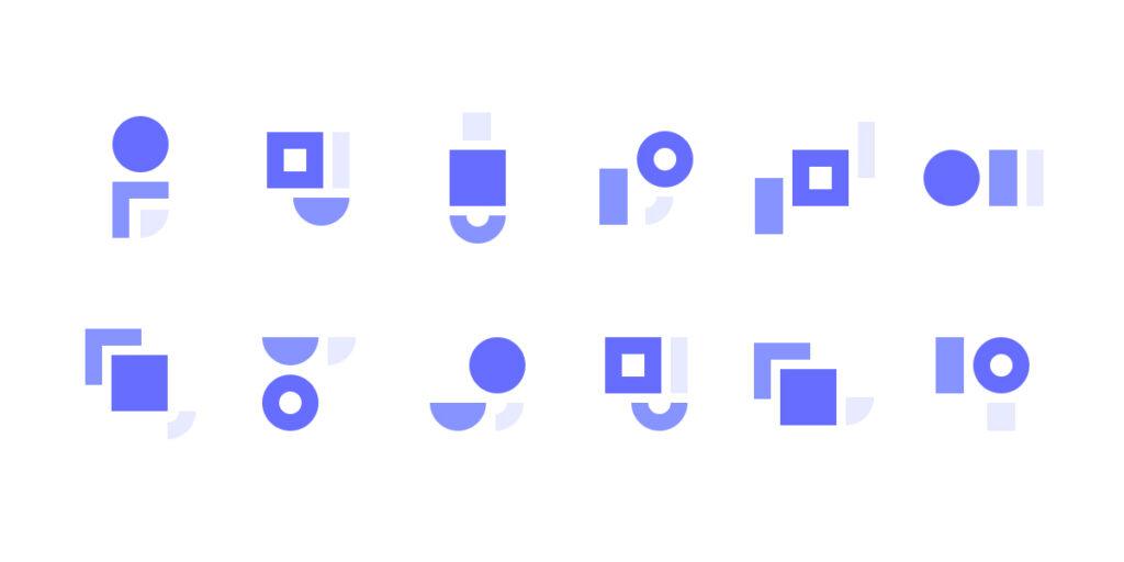 Ilustração de família iconográfica desenhada com recurso a formas geométricas