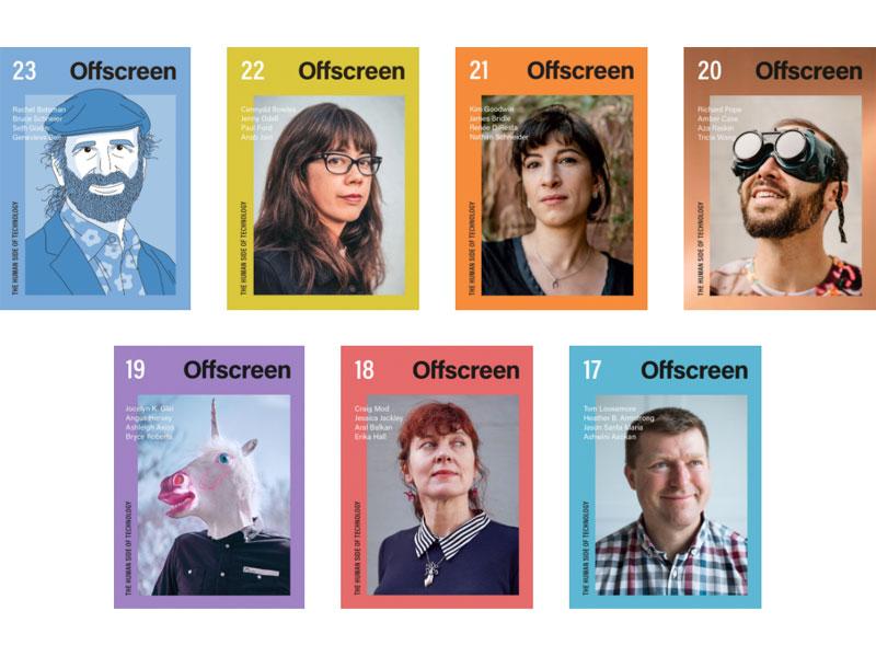 Ilustração com as capas das últimas 7 edições da revista Offscreen