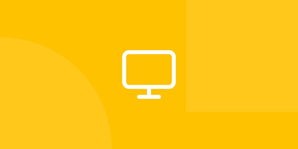 Ícone em tons de amarelo ilustrativo de agências digitais