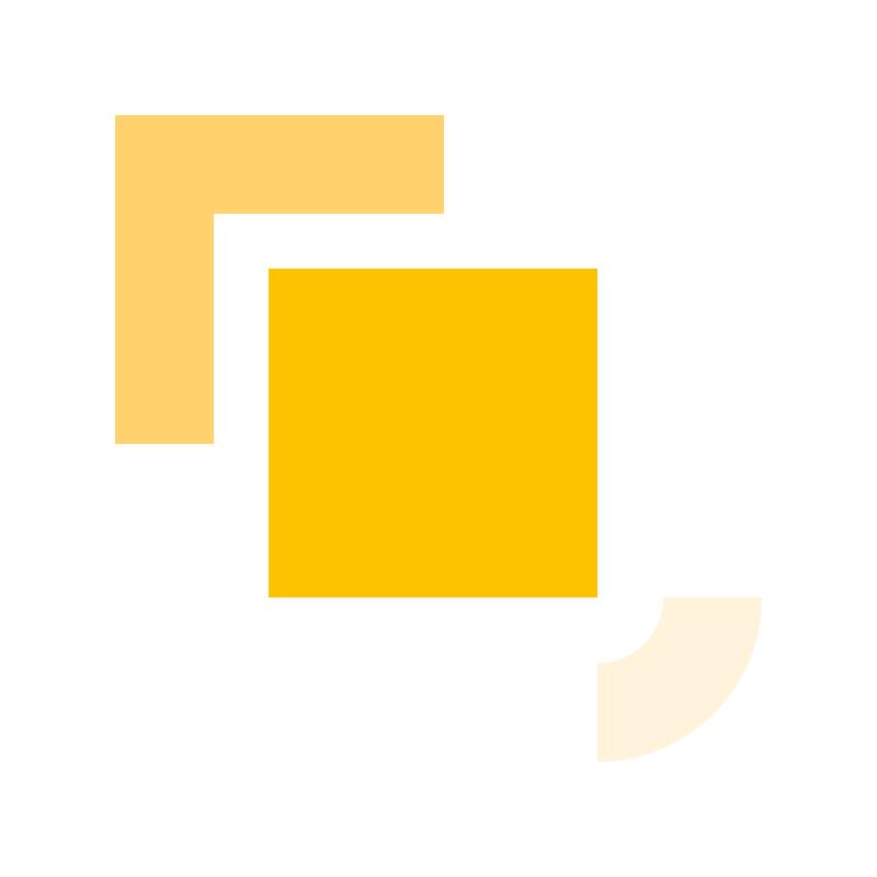 Ilustração de formas geométricas em tons de amarelo alusiva ao conceito de ferramentas