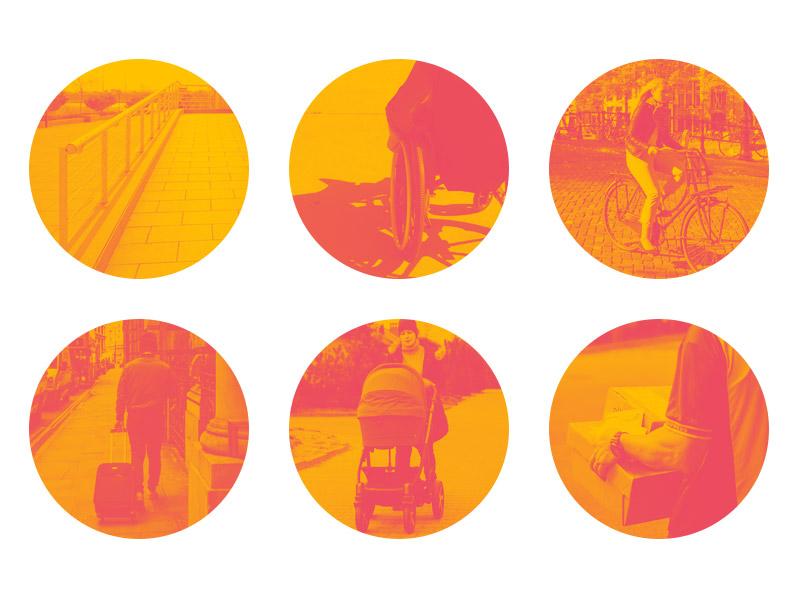 Ilustração com vários exemplos de utilização no dia-a-dia de uma rampa de acesso a um edifício