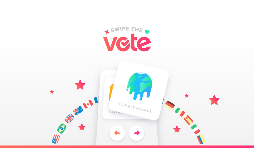 Ilustração da marca do projeto do Tinder Swipe The Vote