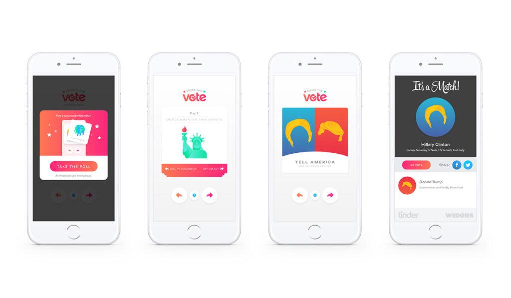 Ilustração da sequência de quatro ecrãs para a participação no projeto do Tinder Swipe The Vote