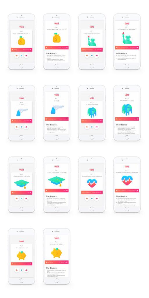 Ilustração dos ecrãs das 10 perguntas do projeto Swipe The Vote do Tinder