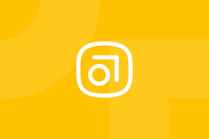 Ícone em tons de amarelo alusivo ao termo Abstract app