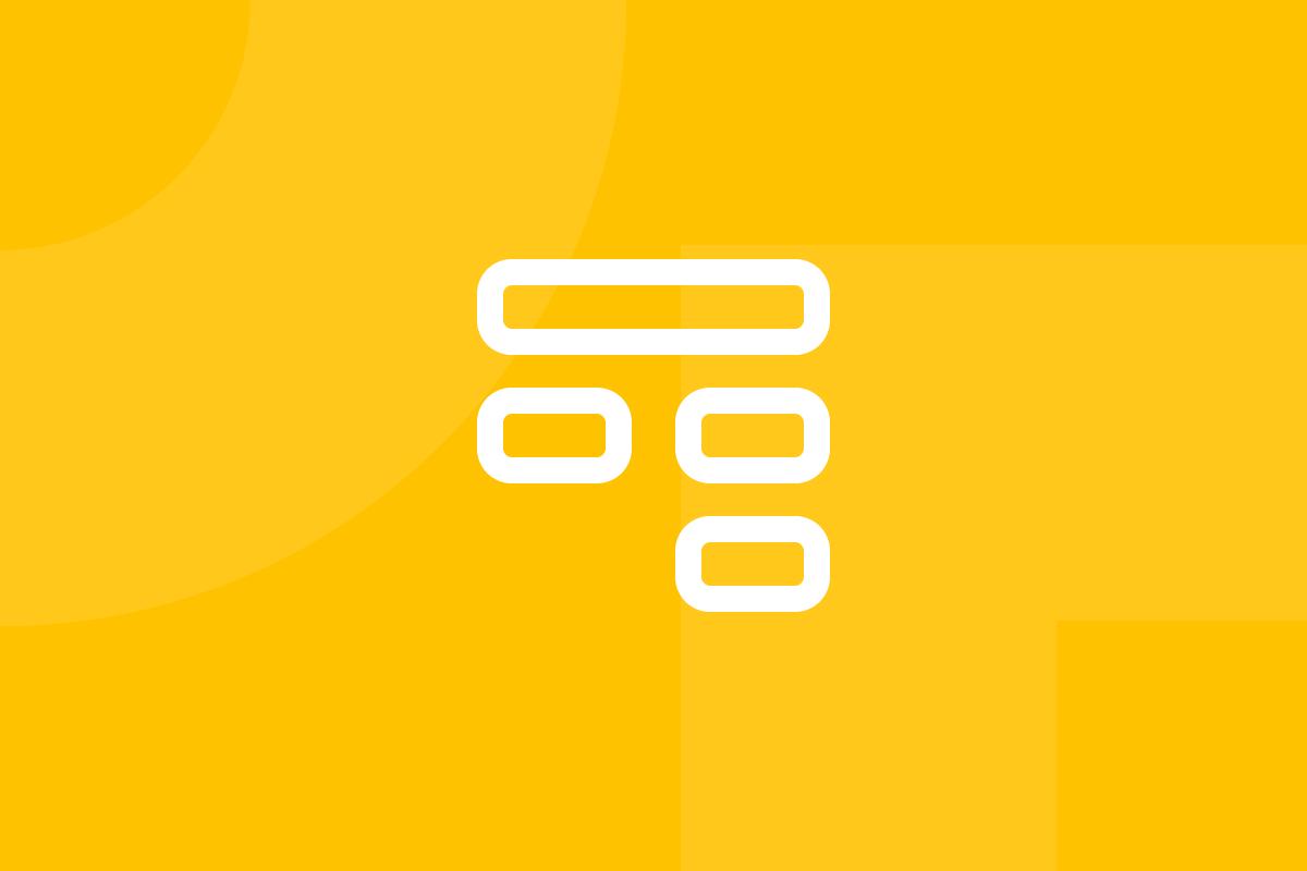 Ícone em tons de amarelo alusivo ao termo affinity diagram