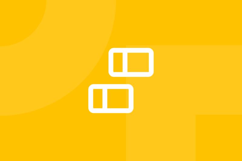 Ícone em tons de amarelo alusivo ao termo card sorting