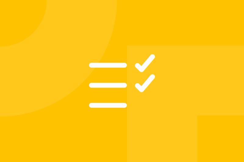 Ícone em tons de amarelo alusivo ao termo checklists