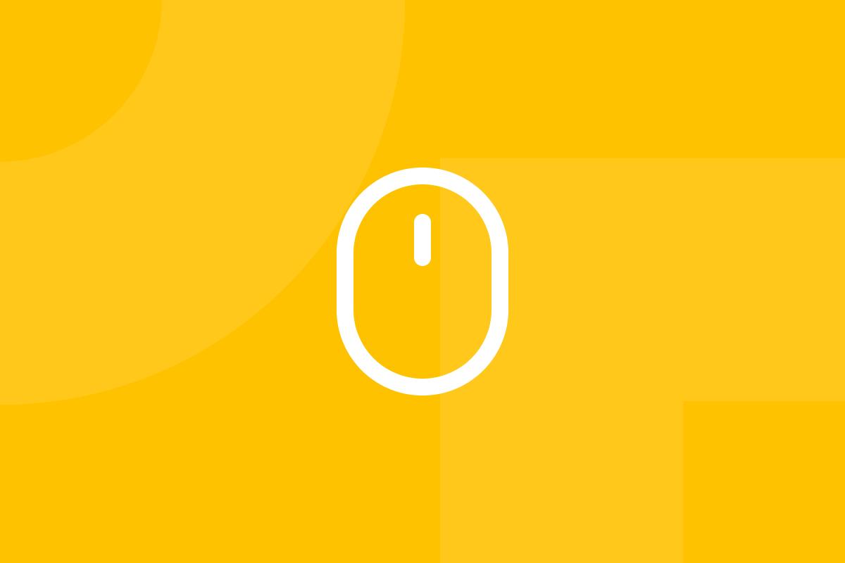 Ícone em tons de amarelo alusivo ao termo first click test