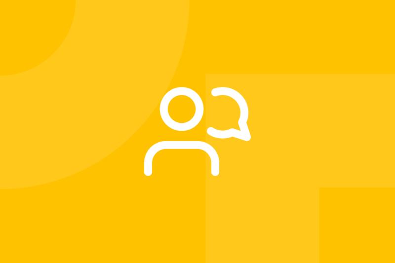 Ícone em tons de amarelo alusivo ao termo interviews