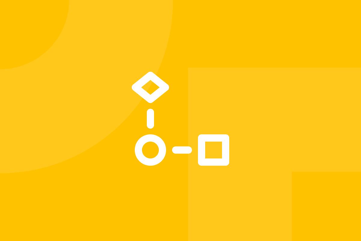 Ícone em tons de amarelo alusivo ao termo task flow