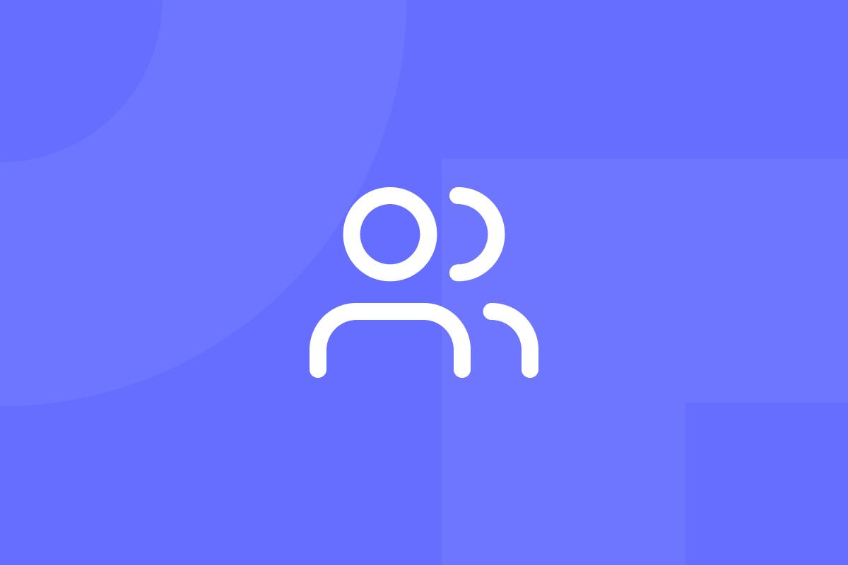 Ícone em tons de roxo alusivo ao termo user-centered design