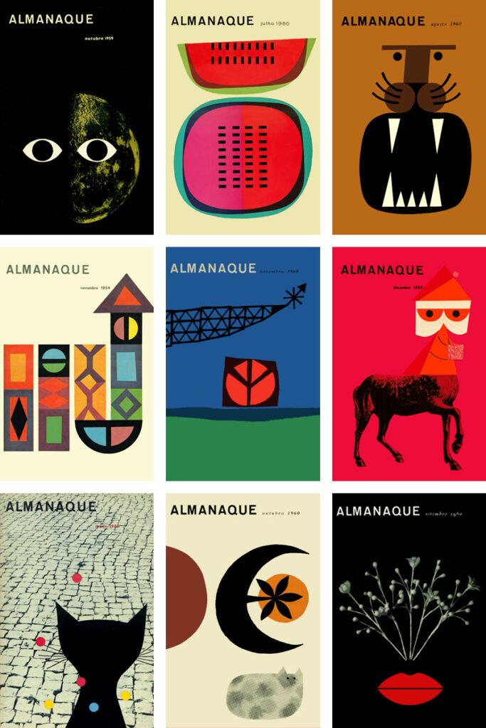 Ilustração de várias capas da revista Almanaque