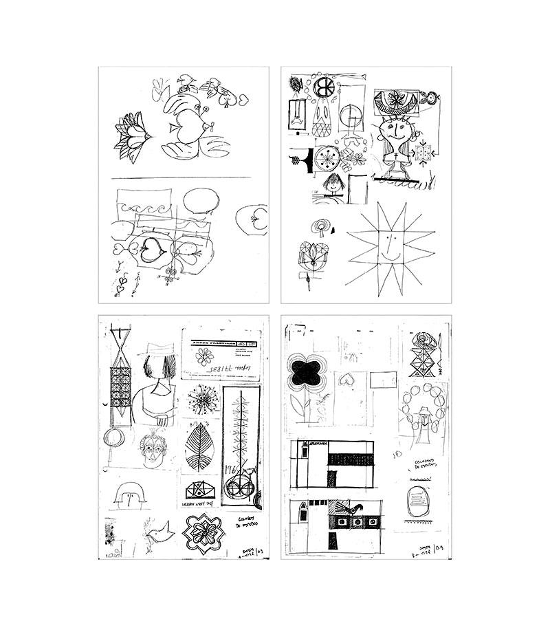 Ilustração de desenhos de estudos do designer Sebastião Rodrigues